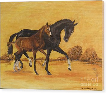 Wood Print featuring the painting Horse - Together 2 by Go Van Kampen