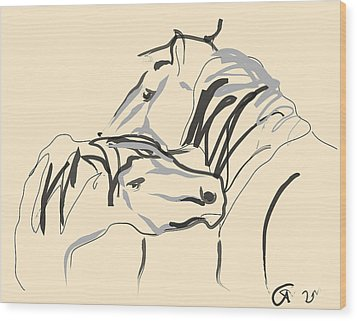 Horse - Together 4 Wood Print by Go Van Kampen