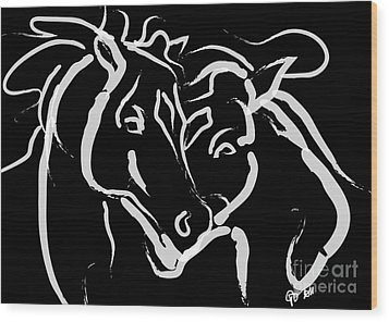 Horse- Together 5 Wood Print by Go Van Kampen