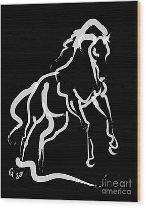 Horse White Runner Wood Print by Go Van Kampen