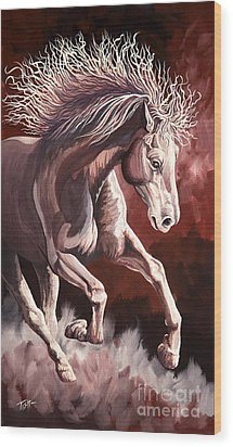 Horse Wild Fire Wood Print by Tish Wynne