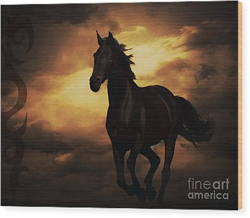 Horse With Tribal Tattoo  Wood Print by Mindy Bench