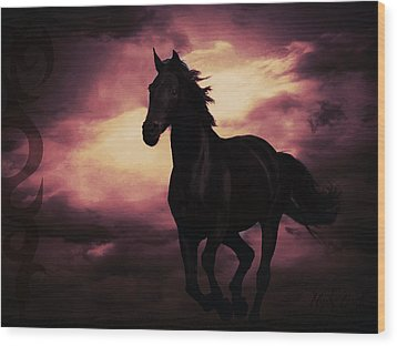 Wood Print featuring the photograph Horse With Tribal Tattoo Purple by Mindy Bench