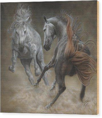 Horseplay II Wood Print