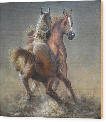 Horseplay Wood Print