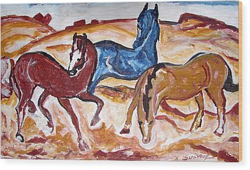 Wood Print featuring the painting Horses 3 by Anand Swaroop Manchiraju