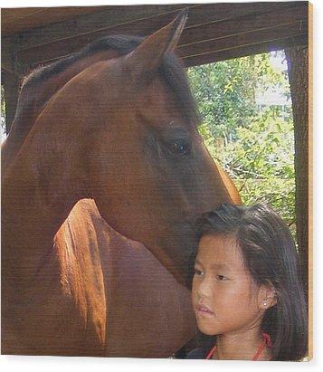 Horses And Children Wood Print by Rene Trebing