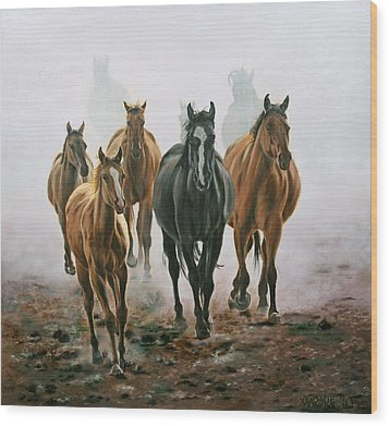 Horses And Dust Wood Print