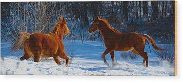 Horses At Play Wood Print