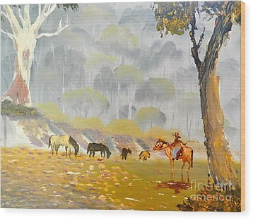 Horses Drinking In The Early Morning Mist Wood Print