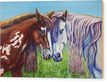 Horses Frolicking  Wood Print by Yelena Rubin