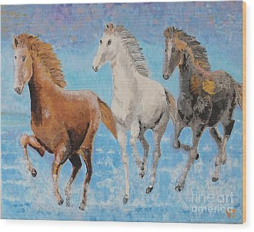 Horses From Troy Wood Print