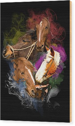 Wood Print featuring the digital art Horses Gone Wild by Davina Washington