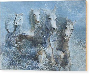 Horses Having Fun Wood Print by Theo Brush