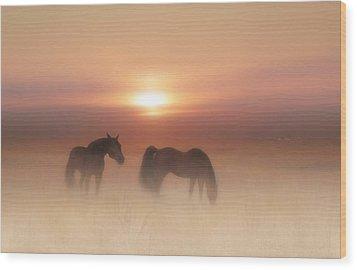 Horses In A Misty Dawn Wood Print