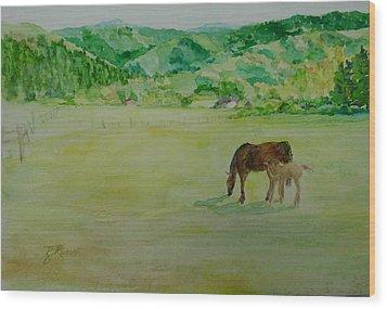 Horses Mare Foal Pastures Rural Landscape Original Art Oregon Western Artist K. Joann Russell Wood Print by Elizabeth Sawyer