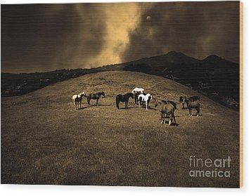 Horses Of The Moon Mill Valley California 5d22673 Sepia Wood Print by Wingsdomain Art and Photography