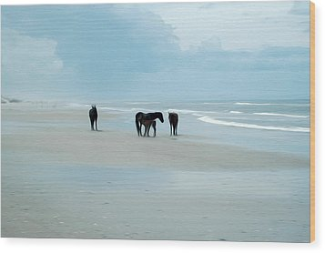Wood Print featuring the digital art Horses Of The Obx by Kelvin Booker
