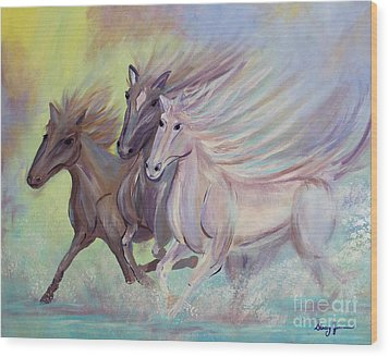 Horses Of The Sea Wood Print by Stacey Zimmerman