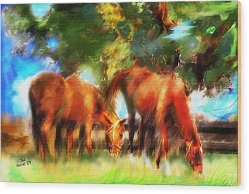 Wood Print featuring the painting Horses On A Kentucky Farm by Ted Azriel