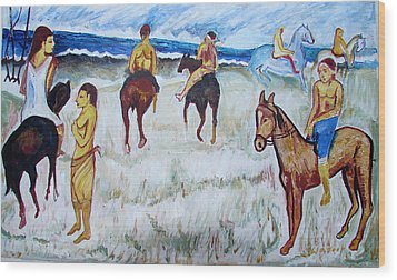 Wood Print featuring the painting Horses On Beach by Anand Swaroop Manchiraju