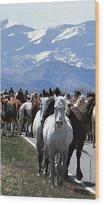 Horses On Road Wood Print