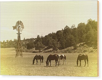 Horses Wood Print by Paul Van Baardwijk