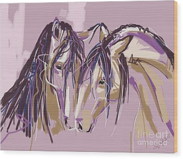 horses Purple pair Wood Print by Go Van Kampen