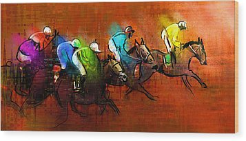 Horses Racing 01 Wood Print by Miki De Goodaboom