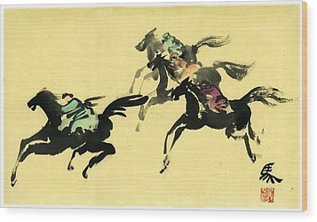 Wood Print featuring the painting Horse Racing by Ping Yan