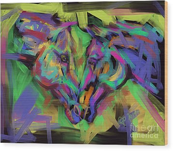 Horses Together In Colour Wood Print by Go Van Kampen