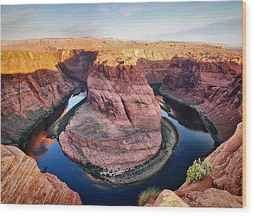 Horseshoe Bend At Sunrise - Page Arizona Wood Print by Gregory Ballos