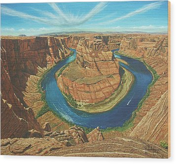 Horseshoe Bend Colorado River Arizona Wood Print by Richard Harpum