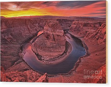 Horseshoe Bend Sunset Wood Print by Adam Jewell