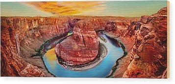 Horseshoe Bend Sunset Wood Print