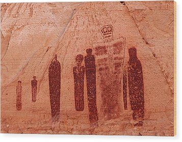 Horseshoe Canyon Pictographs Wood Print by Alan Vance Ley