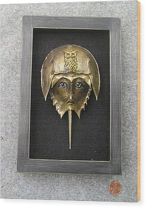 Horseshoe Crab Mask In Grey  Frame Wood Print by Roger Swezey