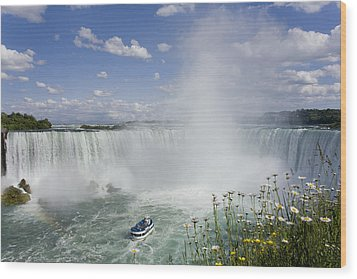 Horseshoe Falls With Maid Of The Mist Wood Print by Peter Mintz