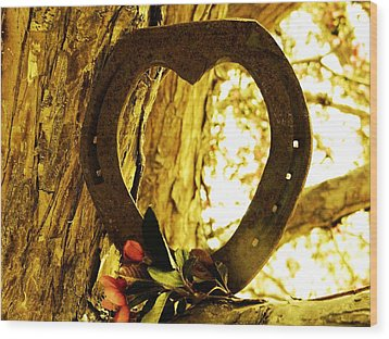 Horseshoe Love Wood Print by Michelle Frizzell-Thompson