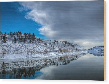 Horsetooth Reservoir Reflection Wood Print by Harry Strharsky