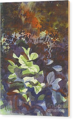 Hostas In The Forest Wood Print