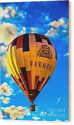 Hot Air Ballon Farmer's Insurance Wood Print by Robert Bales