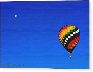 Hot Air Ballon To The Moon Wood Print by Rebecca Adams