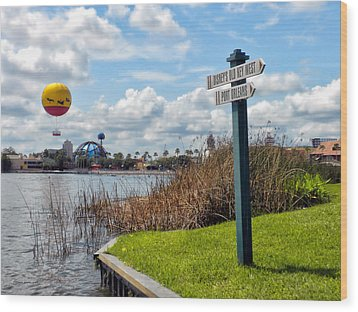 Hot Air Balloon And Old Key West Port Orleans Signage Disney World Wood Print by Thomas Woolworth
