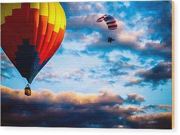 Hot Air Balloon And Powered Parachute Wood Print by Bob Orsillo