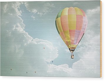 Hot Air Balloon Enchanted Clouds Wood Print by Andrea Hazel Ihlefeld
