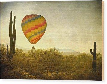 Hot Air Balloon Flight Over The Southwest Desert Fine Art Print  Wood Print by James BO  Insogna