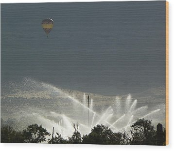 Hot Air Balloon Over Utah Farm Wood Print