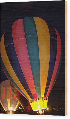 Hot Air Balloon Up Up Glow Wood Print by Kathy Bassett