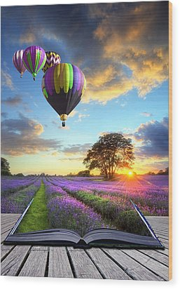 Hot Air Balloons And Lavender Book Wood Print by Matthew Gibson